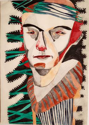 o.T. (rote Nase) 21 x 29,7 cm Mischtechnik