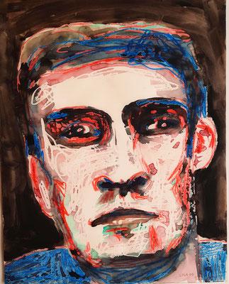 Portrait rot-blau 25 x 32 cm Tusche / Wachskreide