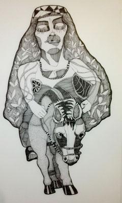 Frau Kaltehand und ihr kleines Pony ca. 60 x 90 cm Tuschestift auf Papier