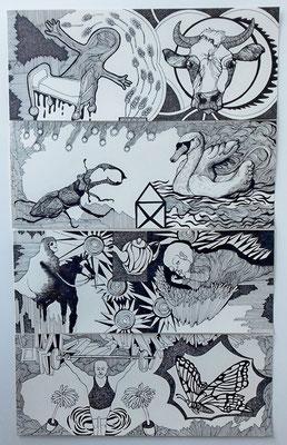 Gleichzeitigkeit ist selten (vierteilig) je 20 x 50 cm Fineliner auf Papier
