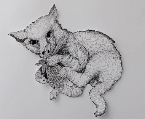 Der kleine Fuchs ca. 45 x 45 cm Fineliner auf Papier