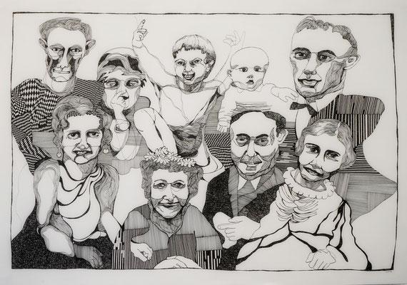 Gruppenbild mit Fremden 70 x 100 cm Tuschestift auf Papier