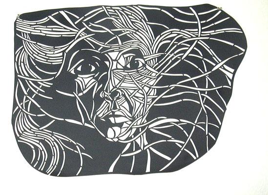 Verschlungenes Mädchen ca. 50 x 70 cm  Papierschnitt