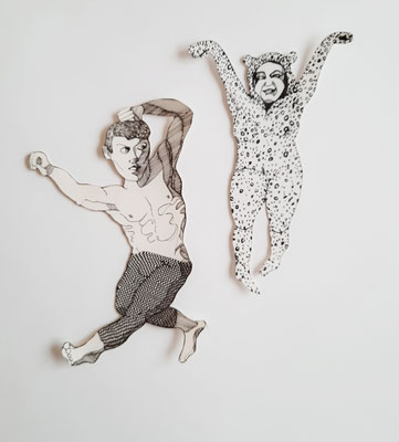 Tanzende (Paar 1) je ca. 28 cm Fineliner auf Papier