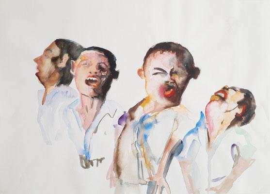 Schreiende Jungs 29,7 x 42 cm Aquarell