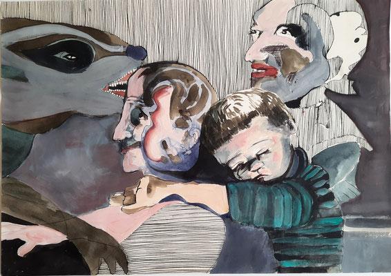 Kind mit Erwachsenen 42 x 59,4 cm Gouache/Tusche