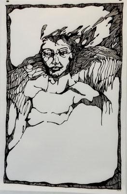 Engel 100 x 150 cm Marker auf Papier