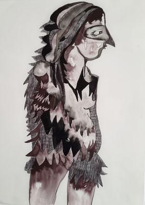 Vogelfrau 29,7 x 42 cm Kugelschreiber/Tusche auf Papier
