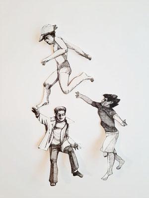 Spielen und Springen (5) je ca. 14 cm Fineliner auf Papier