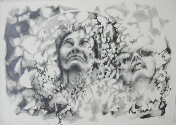 Im Halbschatten 50 x 70 cm  Bleistift auf Papier