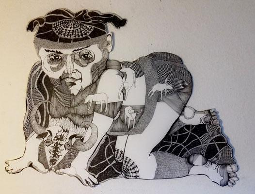 Herr Untermond ca. 60 x 90 cm Fineliner auf Papier