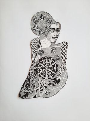 Winterfrau ca. 30 x 58 cm Fineliner auf Papier