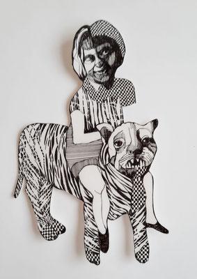 Gaukler (Frau auf Tiger)  ca. 18 x 28 cm Fineliner auf Papier