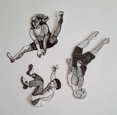 Fallende (1) ca. 10 bis 16 cm Fineliner auf Papier