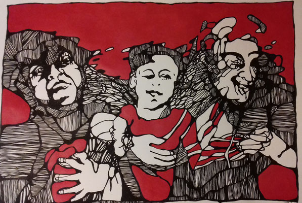 Familienszene 70 x 100 cm Marker/Acryl auf Papier