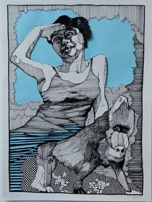 Blaue Aussicht 30 x 40 cm Tuschestift / Papierschnitt