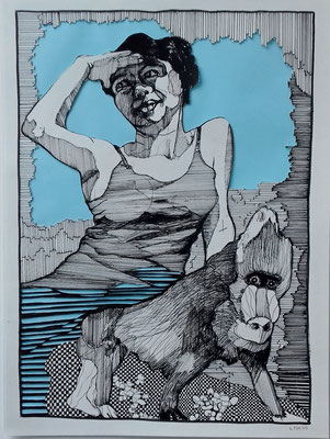 Blaue Aussicht 30 x 40 cm Fineliner / Papierschnitt