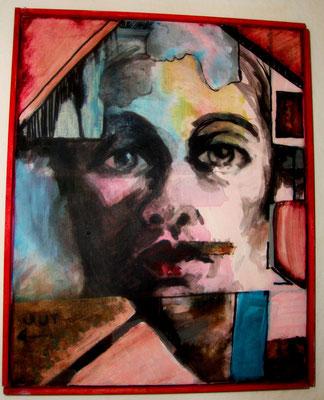 Im Haus  ca. 20 x 30 cm Acryl/Tusche auf Leinwand