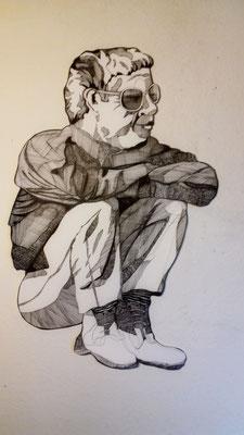 Der Aufpasser (Regisseur) ca. 55 x 85 cm Fineliner auf Papier