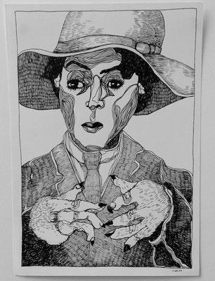 Die Frau und die Hände 21 x 29,7 cm Tuschestift auf Papier