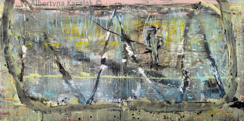 The angler on a lake, 300x150cm - diptych, oil, resin on canvas, 2015, available in AKucharskiArt (info@akucharskiart.de)