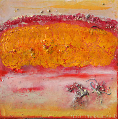 Orange hill, 15x15cm, oil, resin on canvas, 2014 not available