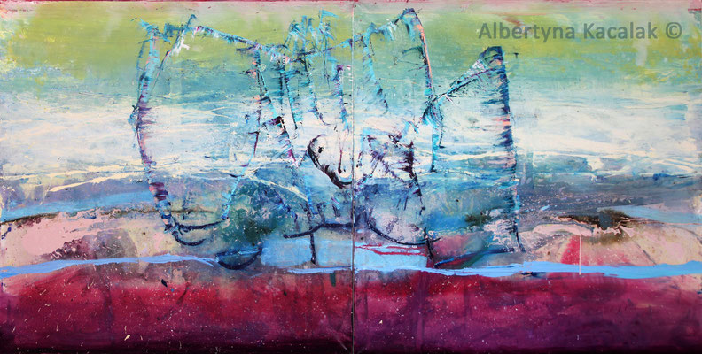Rachmaninov - The Island, 300x150cm - diptych, oil, resin on canvas, 2015,  not available