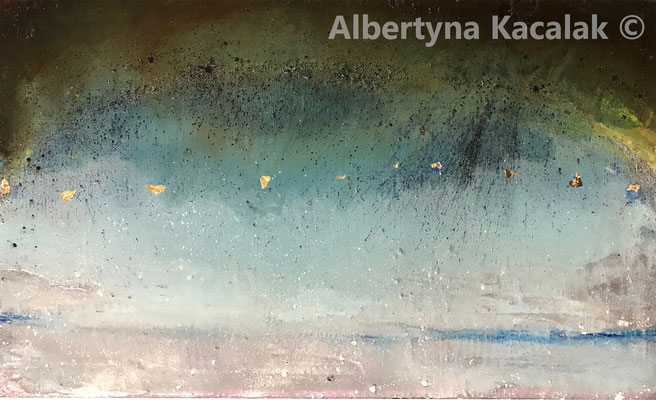 """""""K2 - 18b Water Planet 4"""" , 33x55cm, mixed technique on canvas, 2019"""