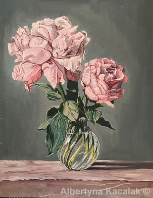 Roses, 30 x 24 cm, oil on canvas, 2018