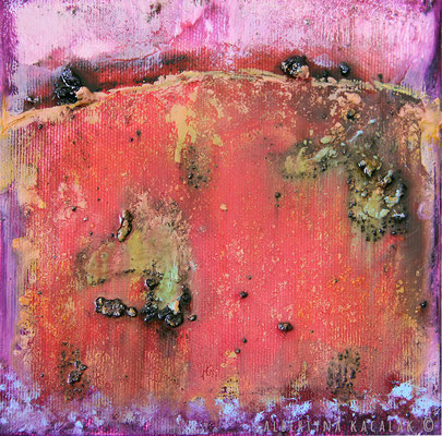Field of poppies, 15x15cm, oil, resin on canvas, 2014, not available