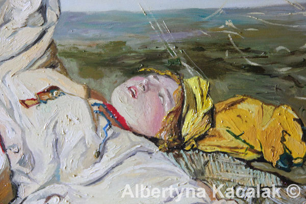 "Fragment 1 Replica of ""Indian Summer"" (""Babie lato"" PL ) J. Chełmonski, 100x80 cm, oil on canvas, 2018"