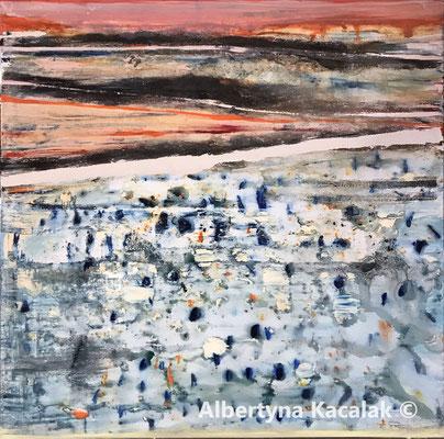 Summer rain, 150x150cm, acrylic, oil on canvas, 2019, AVAILABLE