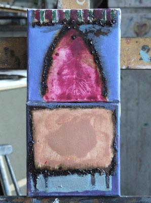 Les couleurs1 - pink&beige, one segment 15x15cm, oil on canvas, 2011