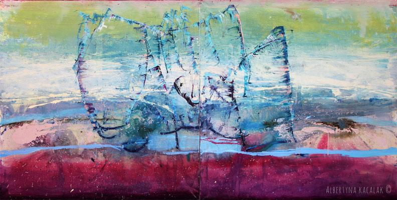 Rachmaninov - The Island, 300x150cm - diptych, oil, resin on canvas, 2015,  not available