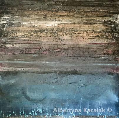 Rainy Day, 150x150cm, acrylic, oil on canvas, 2019 SOLD