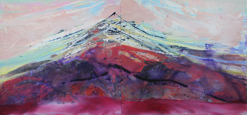 Above us Monte Leone, 140x300cm - diptych, oil, acrylic, resin on canvas, 2016, available in AKucharskiArt (info@akucharskiart.de) / SOLD