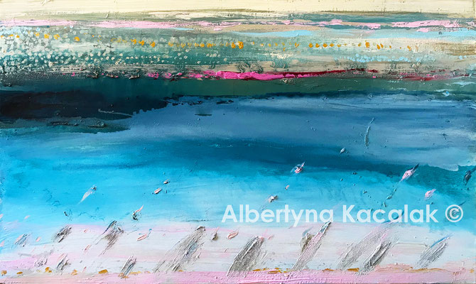 Turquoise sea, 70x120cm, acrylic, oil on canvas, 2019 - painting to order