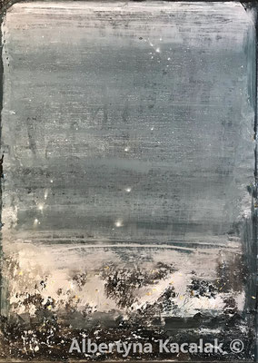 """""""K2 - 18b Water Planet 1"""" , 100x70cm, mixed technique on canvas, 2019 / SOLD"""