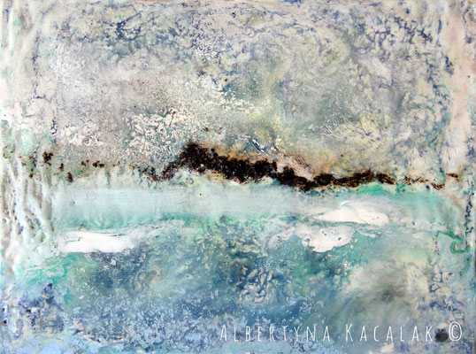 View of the mountains 3, 24x18cm, encaustic on panel, 2015, available