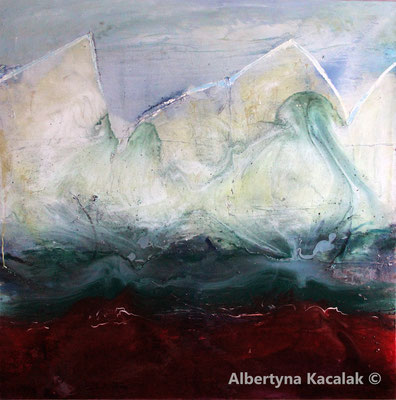 Sailing, 150 x 150 cm, oil, resin on canvas, 2018, available in Platon Gallery in Wroclaw