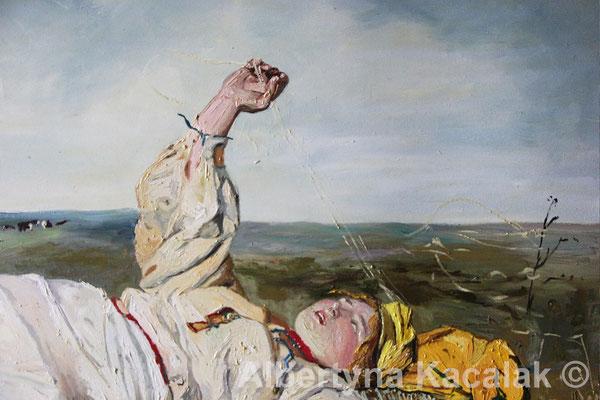 "Fragment 2 Replica of ""Indian Summer"" (""Babie lato"" PL ) J. Chełmonski, 100x80 cm, oil on canvas, 2018"