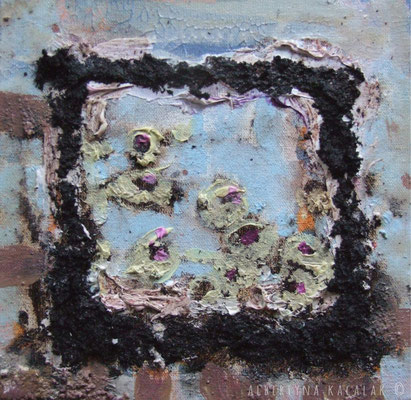 Thoughts VI - small garden, 15x15cm, oil, resin on canvas, 2013