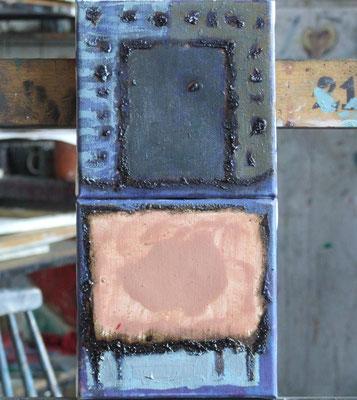 Les couleurs3 - pomegrante&beige, one segment 15x15cm, oil on canvas, 2011