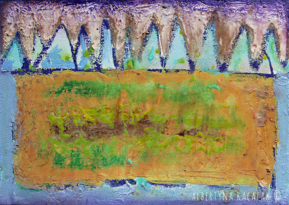Fortress, 30x21cm, encaustic on panel, 2015, available