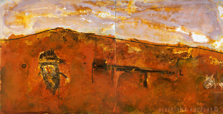 Planet I - Mars , 280x140cm, oil, resin on canvas, 2014,  not available
