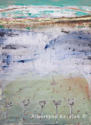 Fields, 130x180cm, acrylic, oil on canvas, 2017, available in AKucharskiArt (info@akucharskiart.de)