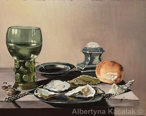 "Copy of ""still life Willem Claesz Heda"" , oil on canvas, 24x30cm, 2018"