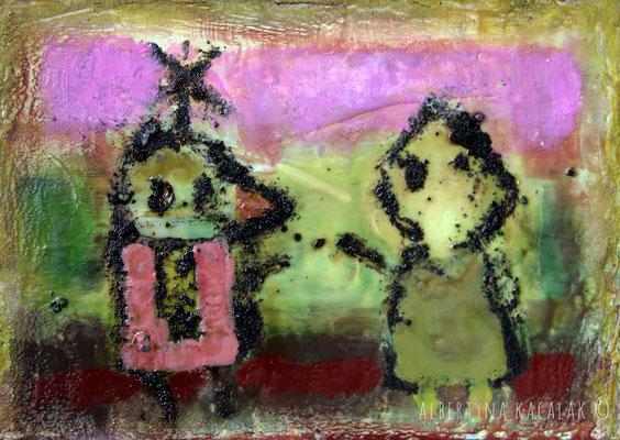 Friends, 21x30cm, encaustic on panel, 2015, available