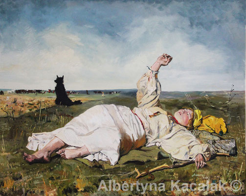 "Replica of ""Indian Summer"" (""Babie lato"" PL ) J. Chełmonski, 100x80 cm, oil on canvas, 2018"