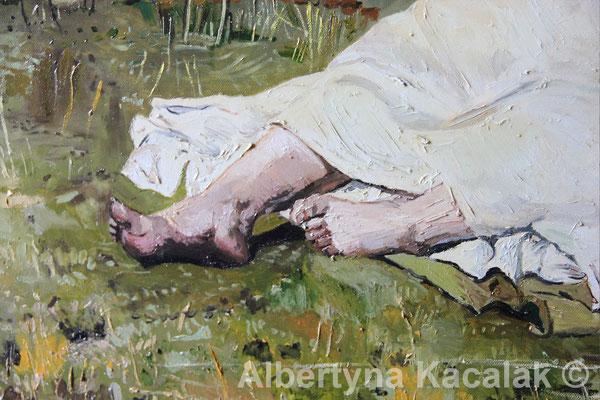"Fragment 3 Replica of ""Indian Summer"" (""Babie lato"" PL ) J. Chełmonski, 100x80 cm, oil on canvas, 2018"